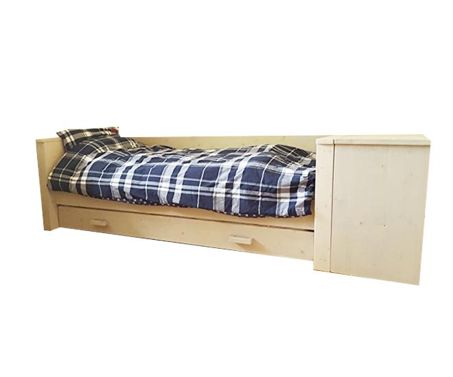 Eenpersoonsbed Met Opbergruimte : Stoere bedbank met onderlade steigerhouten bedcombinatie met veel